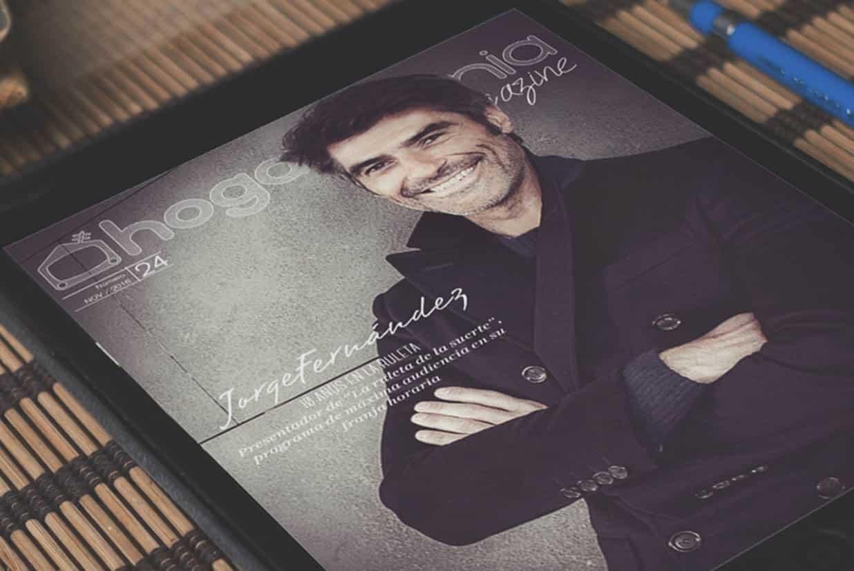 Revista digital Hogarmanía Magazine con Jorge Fernández de portada, creada, ideada y maqueaba en Burman agencia de comunicación y marketing.