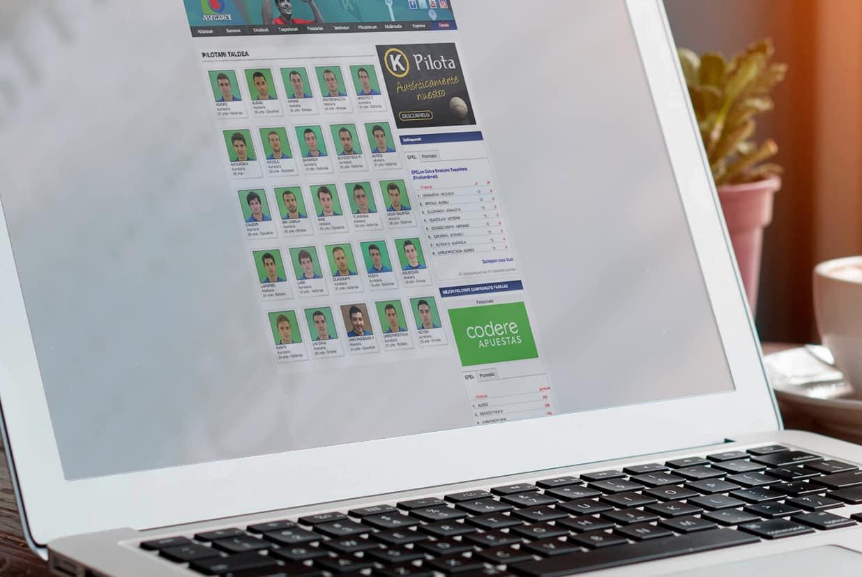 Diseño web de la página Sweifcoop detalle pelotaris.
