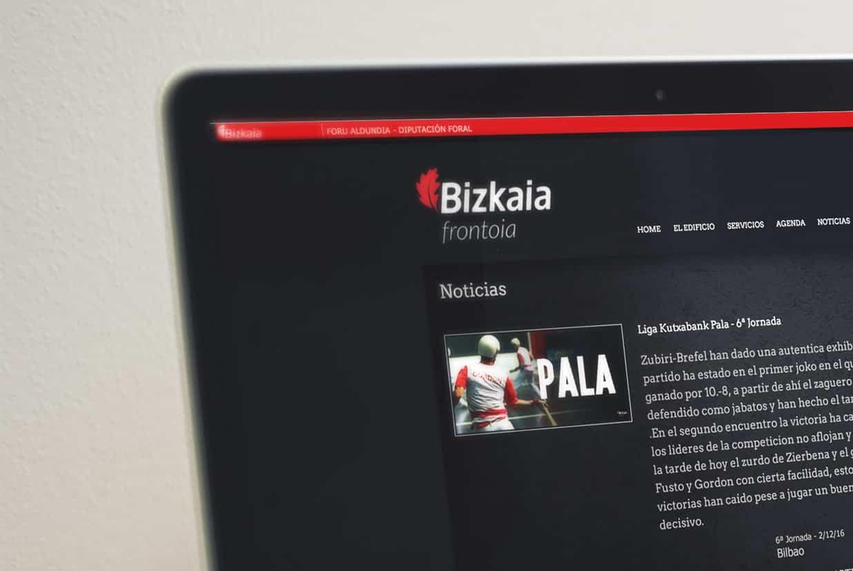 portal web de la página Bizkaia Frontoia detalle noticias.