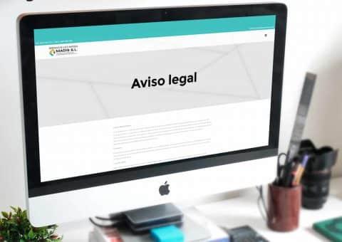 Página web de la página MADIS SL detalle aviso legal.