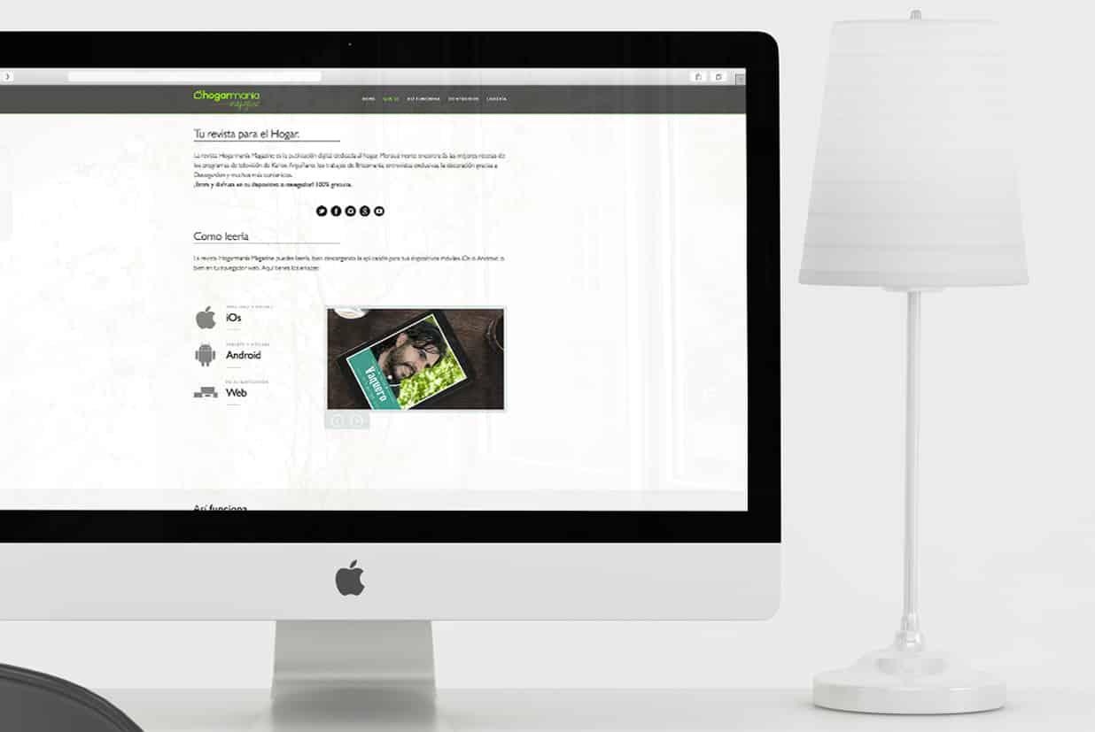 Diseño web de la página Hogarmania detalle que es.