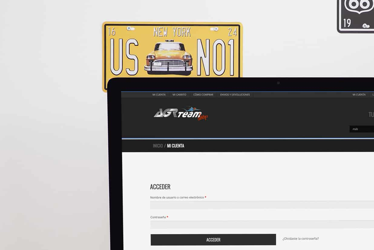 Tienda on-line de la página AGR SHOP detalle mi cuenta.