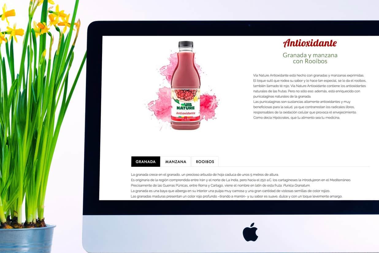 Diseño web de la página Via Nature detalle zumo antioxidante.