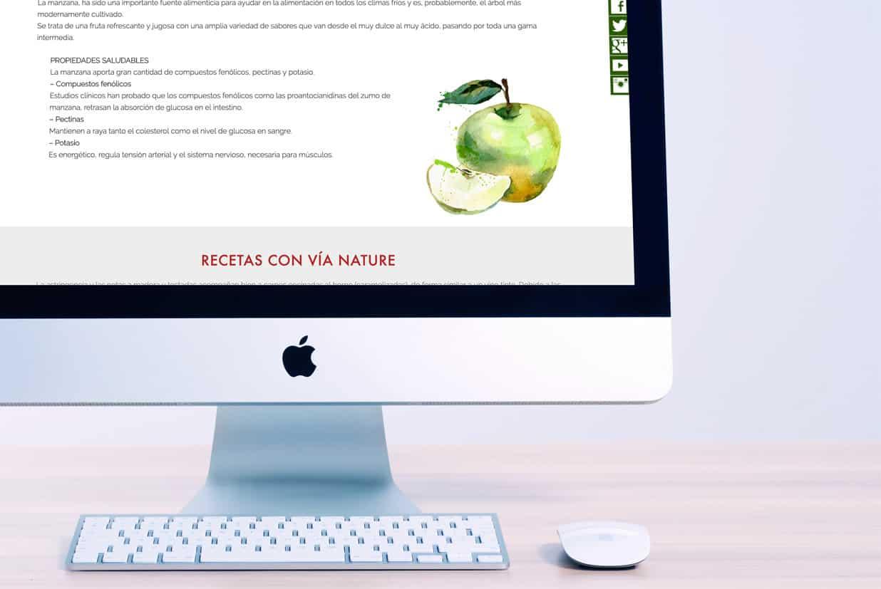 Diseño web de la página Via Nature detalle manzana.