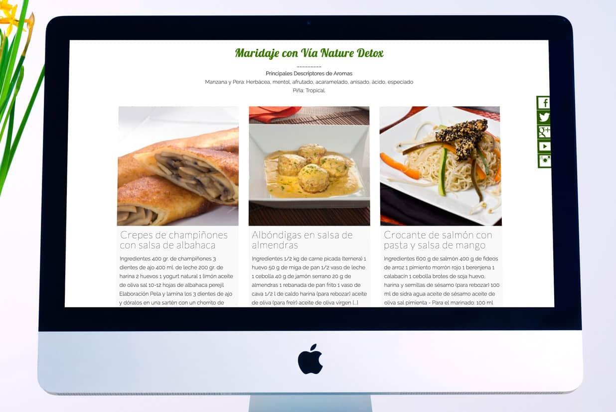 Diseño web de la página Via Nature detalle de los Maridajes.