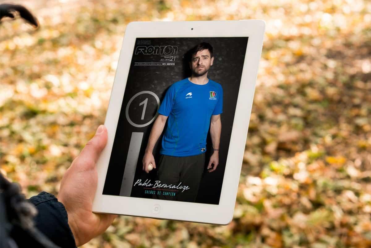 Revista digital Frontón con Pablo Berasaluze de portada, creada por Burman comunicación